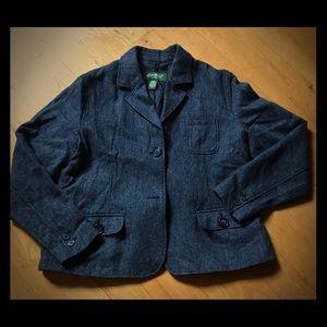 Eddie Bauer grey herringbone jacket xl